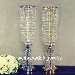 Decorações de mesa redonda para casamento on-line-Grânulo de cristal redondo dos diâmetros luxuosos da decoração 18cm do casamento para a parte do centro da decoração da tabela