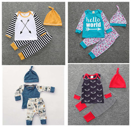 Wholesale Baby Boys Tshirts - 2017 Boys Girls Baby Clothing Sets Long Sleeve tshirts Pants Hat 3Pcs Set Cotton Toddler Arrow Floral Print Boutique Clothes Outfits FZ150