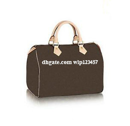 Wholesale 2017 Classic Speedy medium Damier Azur With Strap Women pu leather handbag Brown plaid bag brand designs totes bags with lock