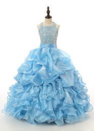Wholesale Turquoise Blue Halter Pageant Dress - Turquoise Pageant Dresses For Girls Ruffles Crystal Kids Ball Gowns Princess Special Occasion Halter Dance Party Dresses Juniors Ball Gowns
