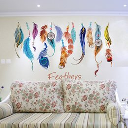 Wholesale Arts Wallpapers - PVC Wall Sticker Colorful Feather Plane Wallpaper DIY Fantastic Removable Paster For Living Room Background Decor 3 6fj B