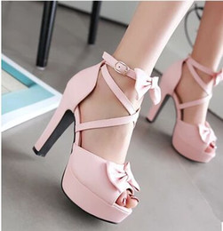 Wholesale Hot Pink Bow Ties - New Arrival Hot Sale Peep Toe Fashion Princess Fine Leather Female Summer Elegant Sweet Cross Sexy Bow Platform Heel Sandals EU34-43