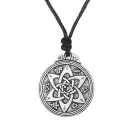 Wholesale Wicca Pentacle - Wholesale- Dawapara Retro Wicca flowers Knot Pentacle Vintage Jewelry Pagan Irish Long Lace Men Collar Necklace Neclaces For Women
