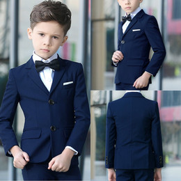 Wholesale Boys Navy Suit Jacket - Navy Blue 2 Pieces Boys Suit Formal Wear Custom Made Slim Fit Boy Wedding Suit (Jacket + Pants)