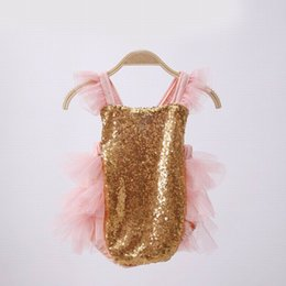 Wholesale Girls Clothes 3years - Ins 2017 Summer New Baby Girl Sweet Bodysuit Gold Sequins Tiered Gauze Princess Jumpsuits Toddler Clothing 0-3years 15159