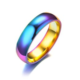 Wholesale Gifts For Gay Men - Rainbow Ring For Men Stainless Steel Wedding Ring 6MM Colour Dazzle Light Curved LGBT Gay Pride Party Jewelry Size 6-13