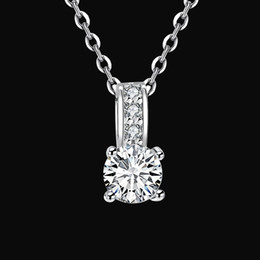 Wholesale White Box 43 - Statement necklaces & pendants woman lucky pendant silver necklace women jewelry for girls accessories noble round Zircon with box NK-43