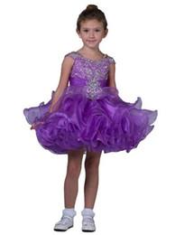 Ragazze ragazze bellissime abiti online-New Purple Little Pageant Cupcake Abiti Cinghie Bambino Crystal Short Mini Dress Bambini Splendida Increspature Tutu Flower Girls Beautiful Gowns