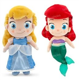 Wholesale Ariel Mermaid Plush - 2017 Cute Princess Cinderella Plush Toys Lovely Little Mermaid Ariel Kids Stuffed Girls Fairy Figure Dolls Girls Toy Christmas gift