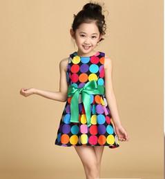Wholesale Kids Rainbow Gown - 2016 summer girls cloth toddler girls vest dress 3-10 years old kids rainbow dot cloth Bow Princess Dress