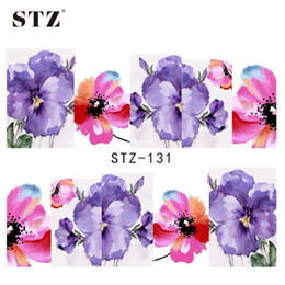 Wholesale Full Nail Foils - Wholesale- STZ 1sheets Purple and Red Printing Nail Art Image Stickers Nail Decals Water Transfer Full Wraps Foils Beauty Care Tools STZ131