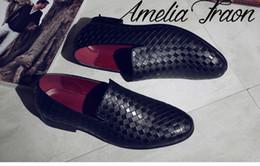 Wholesale Low Glitter Wedges - Men Weaving Dress Italian Red Leather Bottom Shoes Slip On Fashion Men Leather Moccasin Glitter Formal Male Shoes Pointed Toe Shoes For Men