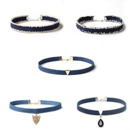 Wholesale Statement Pieces Wholesale - New Arrival 2017 Choker Necklace for Women Cowboy diamond chokers necklaces Personality section statement necklaces 1 set=5 different pieces