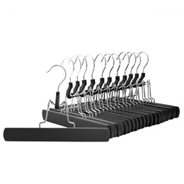 Wholesale Wholesale Slip Towel - Black Wooden Solid Hangers, Non Slip Collection Pants Hanger for Pant, Skirt and Trouser, Hair Extension Hanger