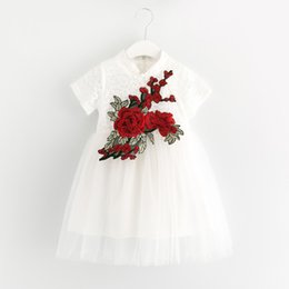 Wholesale Pretty Chinese Girls - Pretty girl European And American Style Girls Dress Lace short Sleeve Kids Dress With Big Flowers Wholesale Children Clothing SG040