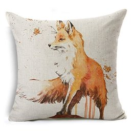 Wholesale Pillowcase Chair Covers - Real Watercolor Fox Cushion Cover Animal Pillowcase Cotton Linen Sofa Chair Seat Home Decorative High Qualtity