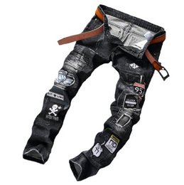 Wholesale Army Pants Medium Regular Vintage - straight vintage cheap hole beggar jeans homme biker skinny jeans men high quality male denim pants masculino designer trousers