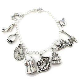 Wholesale Chain Bras Wholesale - 12pcs Rocky Horror Charm Bracelet Janet's Bra High-Heel Engagement Warped Clock charm bracelet adjsutable Jewelry