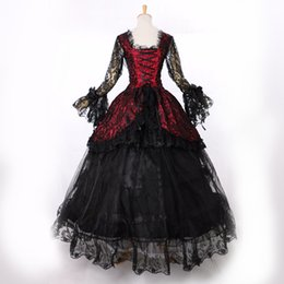 Wholesale Century Length - Custom Black Long Sleeve Lace 18th Century Victorian Lolita schwarz Marie Antoinette Gothic Dress