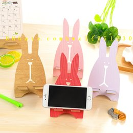 Wholesale Wholesale Wooden Mobiles - Korea creative mobile phone holder, cute escape rabbit mobile phone stand, wooden, mobile phone bracket