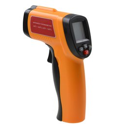 Wholesale Infrared Ir Laser - -50~420 Celsius Non-Contact LCD Digital IR Infrared Thermometer Emissivity:0.1to 1.00 Laser Point Temperature Gun Tester 10pcs lot