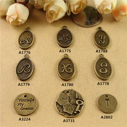 Wholesale Initial T Jewelry - DIY handmade jewelry accessories material A M Y R S X alphabet charms, letter pendants, initial charms oval tag retro T key card wholesale