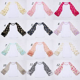 Wholesale Polka Dot Ruffle Baby - Baby girl icing Ruffle Sleeve shirts with gold polka dot Girls boutique clothes o-neck casual flower tops Autumn fall cloth