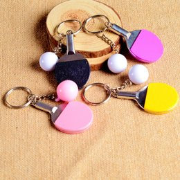 Wholesale Personalized Ring Holder - New arrival Table tennis keychain creative metal key holder personalized gift sports key ring R174 Arts and Crafts mix order