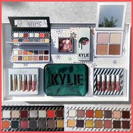 Wholesale Cosmetics Lips - 2017 Newest Kylie Christmas Collection Set Naughty & Nice Eyeshadow The Wet Set Velvet Liquid Lipsticks & Lip Liner Kylie Jenner Cosmetics