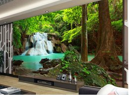 Wholesale Popular Wall Paintings - Custom any size Popular romantic romantic forest landscape painting waterfalls water long background wall