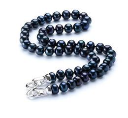 Pérola negra 18 polegadas on-line-Natural 8-9 MM Black Pearl Necklace Colar Gargantilha Pérola Natural para As Mulheres Clássico Jóia Da Pérola 18 polegada