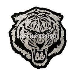 "Wholesale Large Iron Patches - 10"" Large WHITE BARON TIGER Motorcycle MC JACKET BACK EMBROIDERED PATCH Biker Vest punk rockabilly applique iron on patch"