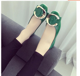 Wholesale Patent Lighter - 2017 summer new low-top shoes for women's shoes pure color belt buckle set foot lighter paint work shoes with flat sole