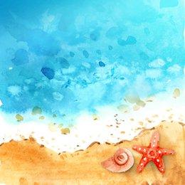 Wholesale Starfish Cartoon - 5x7ft Blue Painted Summer Beach Background for Baby Starfish Kids Cartoon Photo Backdrops Newborn Photography Props