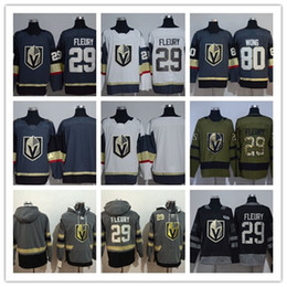 Wholesale Hockey Free - LAS Vegas Golden Knights #18 James Neal #29 Marc-Andre Fleury #80 Wong Black 100th  Army Green Embroidered New Logo Hockey Jerseys Free Drop