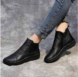 white short women boots Promo Codes - 2017 Winter New Arrival Women's Fashion Genuine Leather Shoes Luxurious Zipper Flat Handmade Short Boots Women's Work Cowskin Ankle Boots