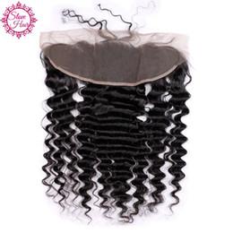 Wholesale Side Parting Brazilian Hair Closure - Slove Hair virgin brazilian deep wave lace frontal closure 13x4 with baby hair, deep wave swiss lace frontal closure