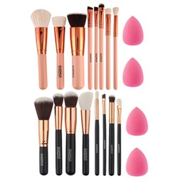 Wholesale Used Wood Tools - Soft 8Pcs Rose Gold Makeup Brushes Eyeshadow Powder Blush Fondation Brush Make Up Tool 2pc Sponge Puff Cosmetic Kit Easy to use