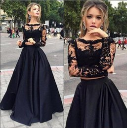 Wholesale Lilac Crystal Brooch - Black Two Pieces Prom Dresses Long Illusion Sleeves A Line Sheer Neck Floor Length Illusion Bodice Lace Evening Dresses
