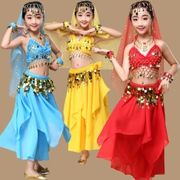 Wholesale Beaded Belly Dance Costumes - 5Color New children belly dance dress girls Indian dance performances costumes competitive service uniforms sexy sequins beaded 8PCS suit 02