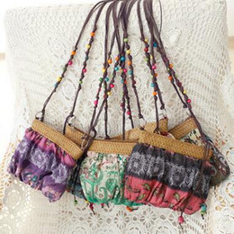 Wholesale Cheap Printed Cotton Bags - Hot Selling Bohemian Mini Cross Body Bag Women Beach Straw Bags Portable Outing Cosmetics Bags Shoulder Bag Cheap Cross Body Bags 6 Color