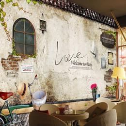fond d'écran nostalgique Promotion Papier peint mural en gros sur mesure nostalgique rétro brique papier peint chambre à coucher café bar restaurant fond revêtement mural papier décor à la maison