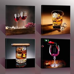 size picture frames Canada - Modern Life Painting (No Frame) Wine And Cup Canvas Giclee Wall Art pictures for Living Room Bar Home Office Decor(Size:6 sizes)