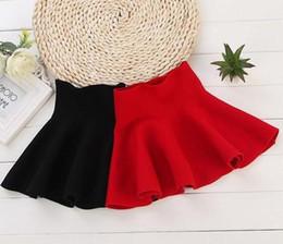 Wholesale Girls Red Wool Dress - 2017 children's girl waist apron child wool knit dress red black baby skirt plush skirt children Vestidos Infantil