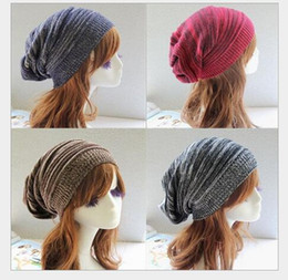 Wholesale Color Plain Tie Set - Foreign trade hot style double color multi-layer fold the hat Sets warm pile of pile cap Hip-hop knitted hat