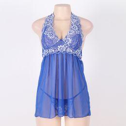 Wholesale Sexy Halter Babydoll Blue - Sexy Lingerie Plus Size Underwear Hot Women Halter Babydoll Chemise Sleepwear M XL XXXL 5XL See Through Lace Patchwork Nightgown R80003