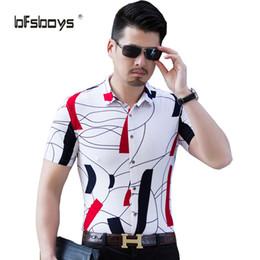 Wholesale yard long print - Wholesale- 2017 new fashion men summer printing shirt big yards leisure short-sleeved M-6XL D8812P50