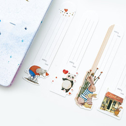 Wholesale Cute Cat Bookmarks - wholesale 10 set Lot Lovely day cat bookmark Cute animal book mark Reading notes paper Stationery Office accessories School supplies F612