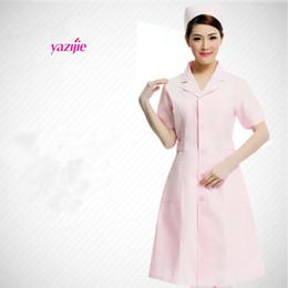 Wholesale Overall Work - Nurse doctor white coat female short-sleeved summer uniform lab coat pharmacy business attire beautician overalls