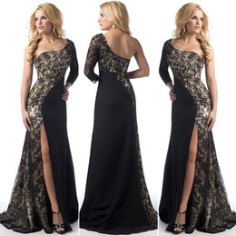 Wholesale Sexy Corsets For Size 12 - Elegant Long Prom Evening Dresses for Women Lace One-Shoulder Contrasr Color Maxi Sweep Train Corset Fashion Party Dresses 2017 Sexy